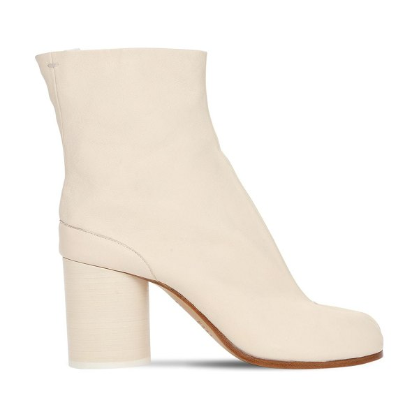 Maison Margiela 80mm tabi vintage leather ankle boots in cream