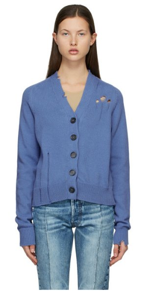 Maison Margiela blue destroyed cardigan in 467 lavande