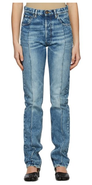 Maison Margiela blue recycled pleated jeans in 961 blu den