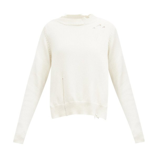 Maison Margiela distressed side-slit sweater in cream