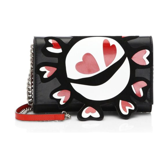Maison Margiela heart leather shoulder bag in black - Leather shoulder bag with glossy print on flap. Shoulder...