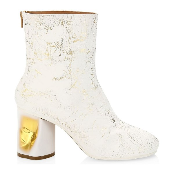 Maison Margiela painted crushed metallic ankle boots in white