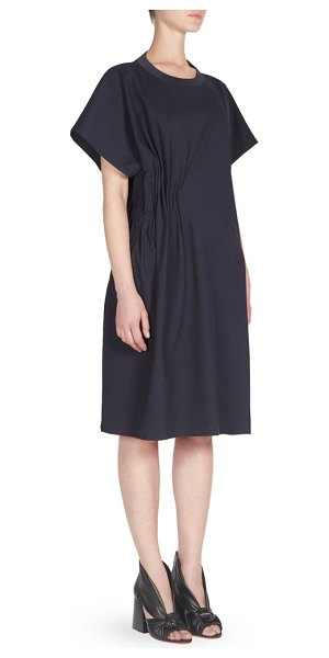 Maison Margiela punto milano jersey cotton dress in navy - Ruched details provide origami effect to jersey cotton...