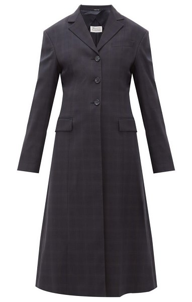 Maison Margiela single-breasted windowpane-check wool-blend coat in navy multi