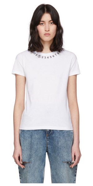 Maison Margiela white numbers t-shirt in 100 white