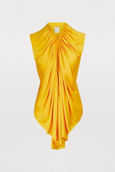 MAISON RABIH KAYROUZ Sleveless pleated top in sunflower yellow - Maison Rabih Kayrouz, well-known for its ample...