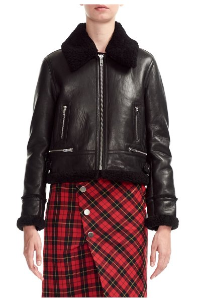 Maje bartonfink lambskin leather biker jacket with genuine shearling trim in black