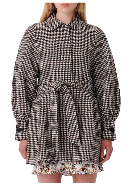 Maje belted houndstooth coat in blue/ white