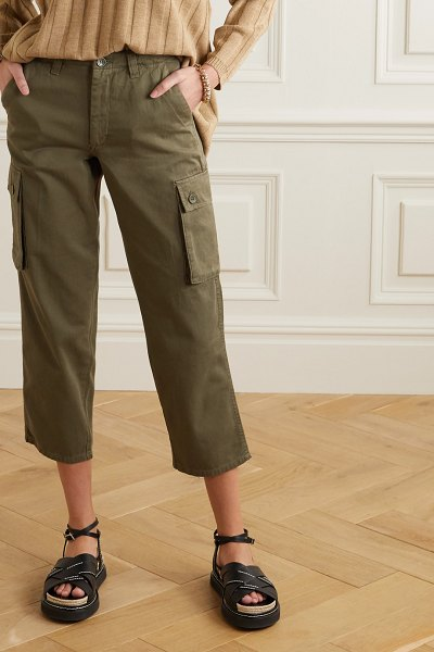 Maje cropped cotton-twill straight-leg cargo pants in army green