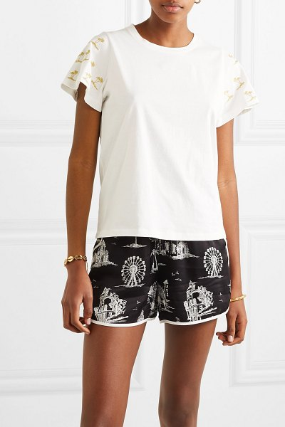 Maje embroidered cotton-jersey t-shirt in white - Maje's tee is cut in a classic boxy shape and set apart...
