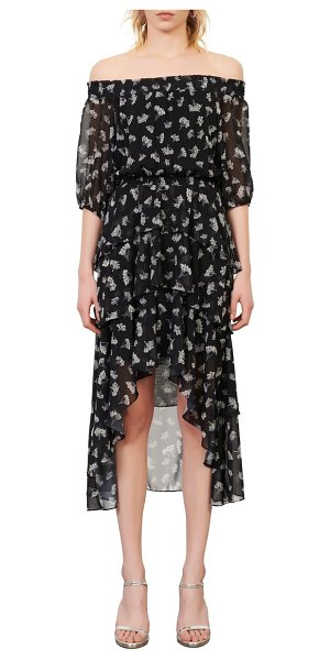 Maje floral off the shoulder dress in black