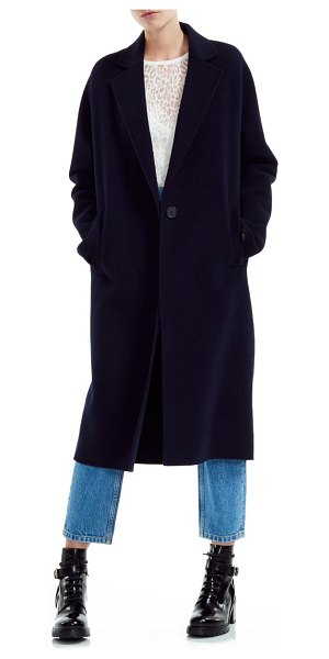 Maje gina wool blend long coat in navy