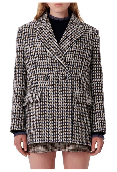 Maje houndstooth jacket in blue / white
