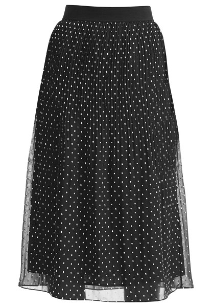 Maje jockito polka dot plissé midi skirt in black