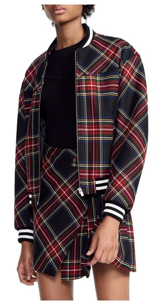 Maje plaid bomber wool blend jacket in red - Take on the tartan trend in true style with a jaunty...