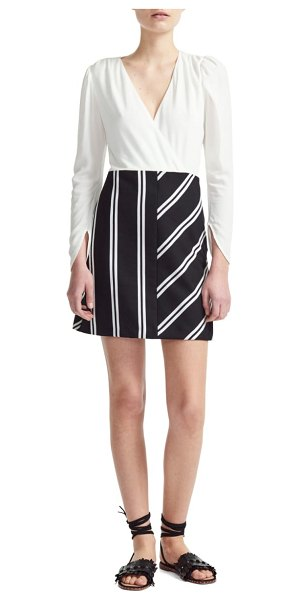 Maje rolim stripe skirt crepe fit & flare dress in black/ white - Cover all the style angles in this linen-kissed crepe...