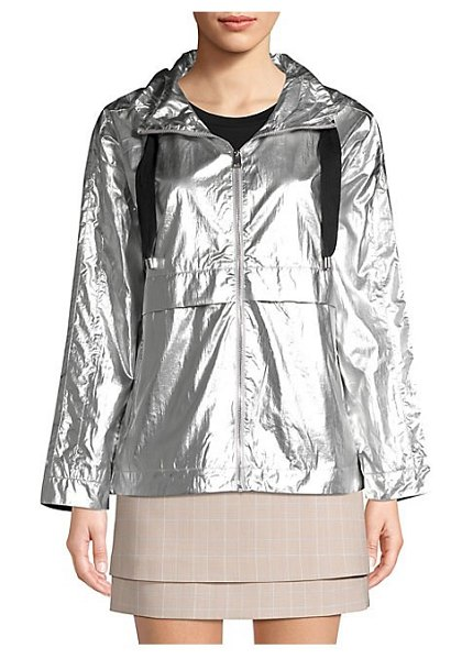 Maje short metallic waterproof coat in multi - Striking metallic coat is constructed into a cropped...