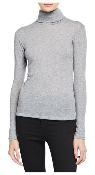 Majestic Cashmere Long-Sleeve Turtleneck Top in gray