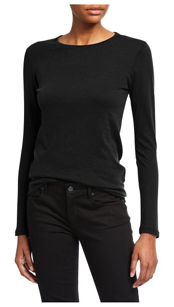 Majestic Cotton/Cashmere Long-Sleeve Crewneck Tee in noir