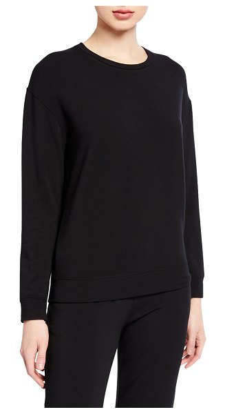 Majestic Crewneck French-Terry Sweatshirt in noir