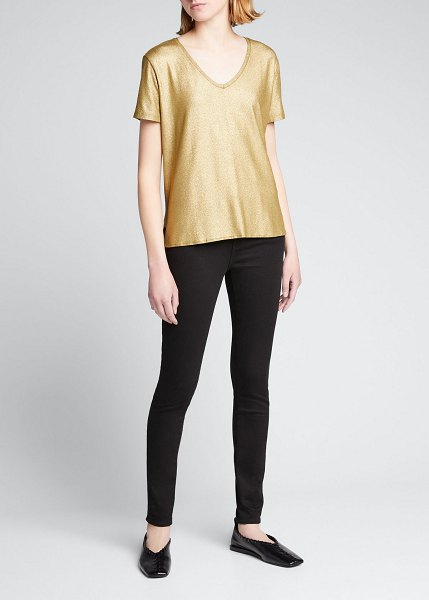 Majestic Filatures Soft Touch Metallic V-Neck T-Shirt in metal olive