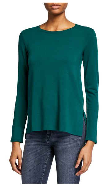 Majestic French-Terry Long-Sleeve Crewneck Top in forest