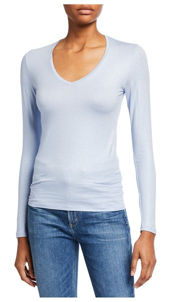 Majestic Metallic Long-Sleeve V-Neck Tee in blue