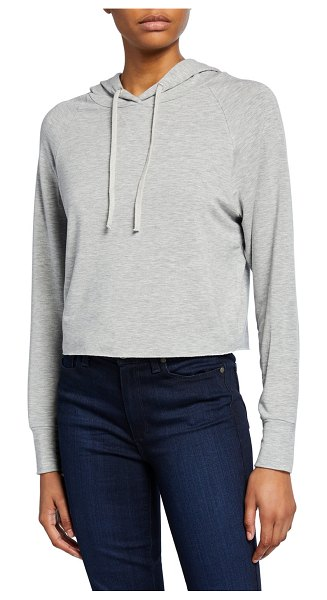 Majestic Paris for Neiman Marcus French-Terry Long-Sleeve Cropped Pullover Hoodie in gris chine clair
