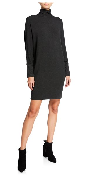 Majestic Paris for Neiman Marcus Long-Sleeve Turtleneck Shift Dress in anthracite