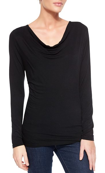 Majestic Filatures Soft Touch Draped Long-Sleeve Top in black