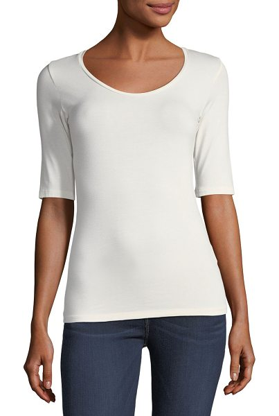 "MAJESTIC PARIS FOR NEIMAN MARCUS Soft Touch Half-Sleeve Scoop-Neck Top - Majestic Paris for Neiman Marcus top. Approx. 25""L down..."