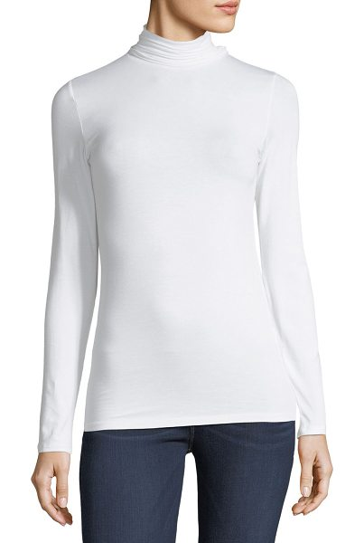 "MAJESTIC PARIS FOR NEIMAN MARCUS Soft Touch Long-Sleeve Turtleneck - Majestic Paris for Neiman Marcus top. Approx. 25.5""L down..."