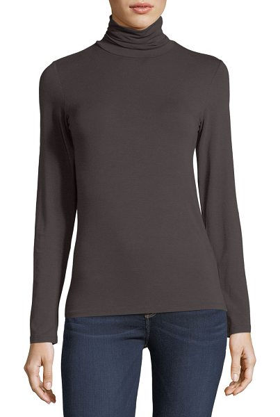 """Majestic Paris for Neiman Marcus Soft Touch Long-Sleeve Turtleneck in chocolate - Majestic Paris for Neiman Marcus top. Approx. 25.5""""L..."""