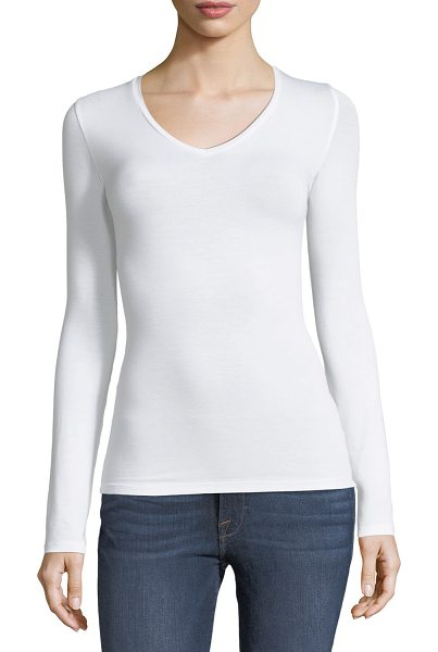 Majestic Paris for Neiman Marcus Soft Touch Long-Sleeve V-Neck Tee in white - Majestic Paris for Neiman Marcus tee. Soft Touch,...
