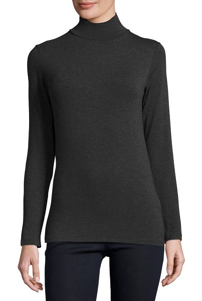 Majestic Filatures Soft Touch Mock Turtleneck Top in anthracite