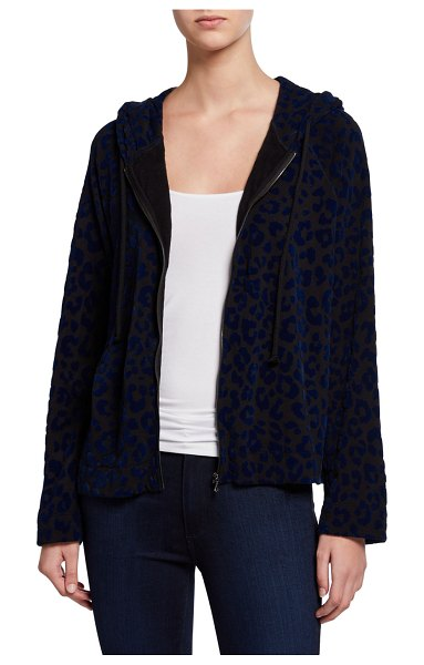 Majestic Filatures Velour Leopard Zip-Front Hoodie Jacket in noir navy