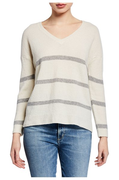 Majestic Striped V-Neck Long-Sleeve Sweater in white/gray