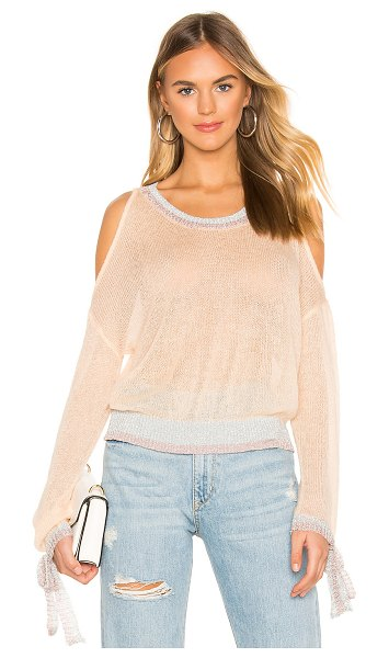 MAJORELLE Daphne Sweater in peach - 35% acrylic 26% metallic 22% nylon 11% wool 6% mohair....