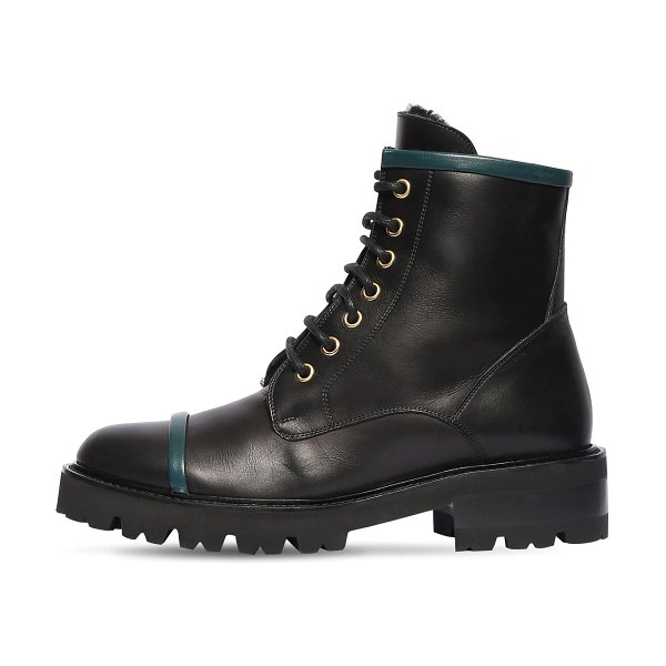 Malone Souliers 30mm bryce leather combat boots in black,green