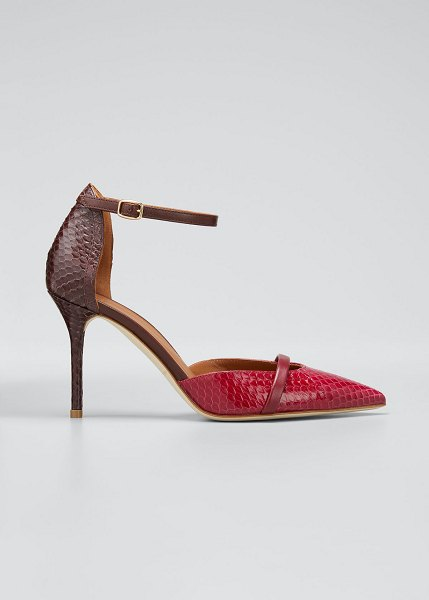 Malone Souliers Booboo 85mm Two-Tone Snake Pumps in red