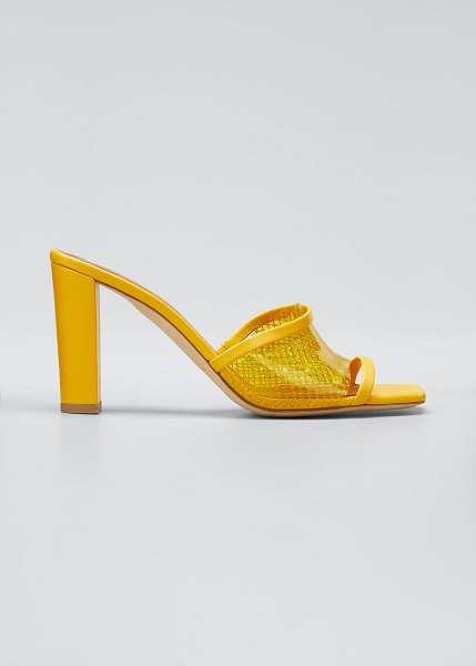 Malone Souliers Demi 70mm PVC Woven Metallic Mule Sandals in yellow