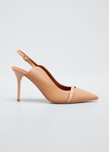 Malone Souliers Marion 85mm Leather Slingback Pumps in beige