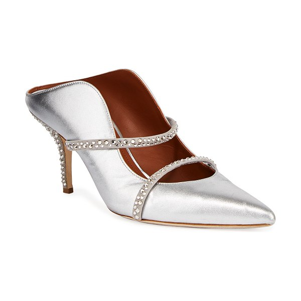 Malone Souliers Maureen Metallic Napa Crystal-Strap Mules in silver