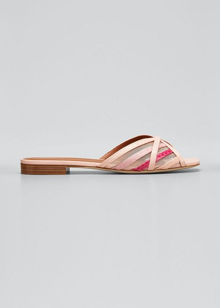 Malone Souliers Pim Multi-Striped Mesh Sandals in pink