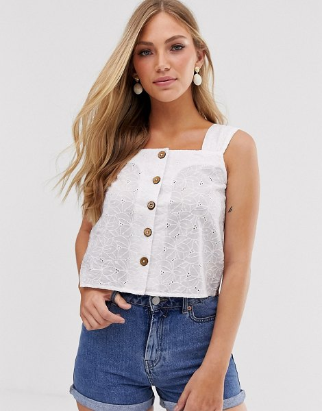 Mango broderie button front top in white in white