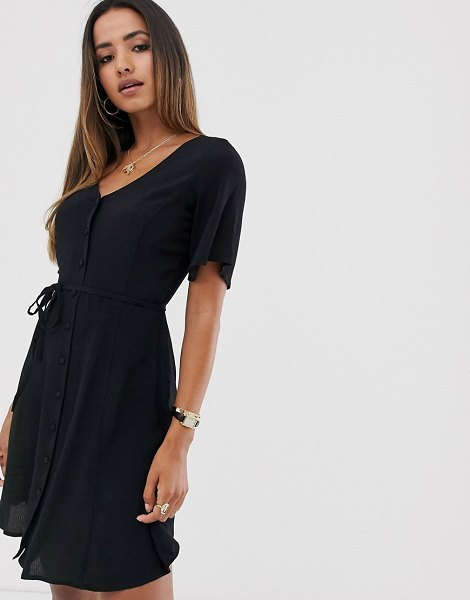 Mango button front dress in black in black