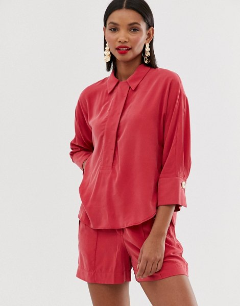 Mango button front shirt in red in red