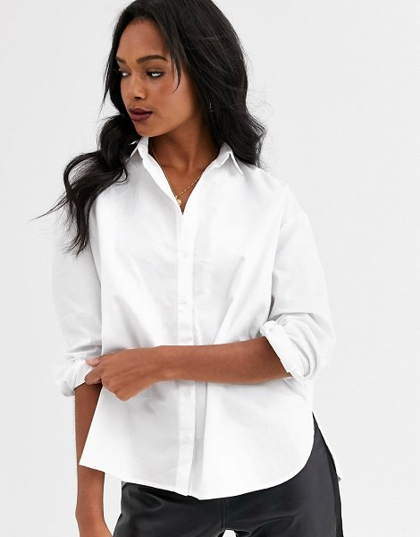 Mango button front shirt in white in white