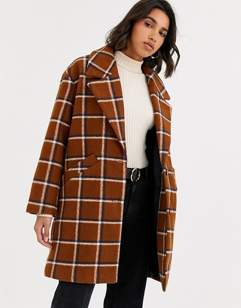 Mango check mid length coat in brown in brown