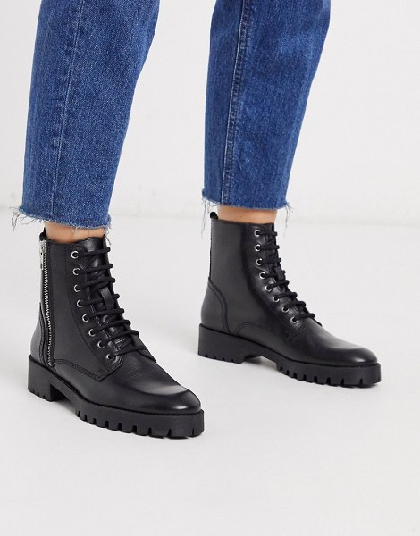 Mango lace front leather biker boots in black in black